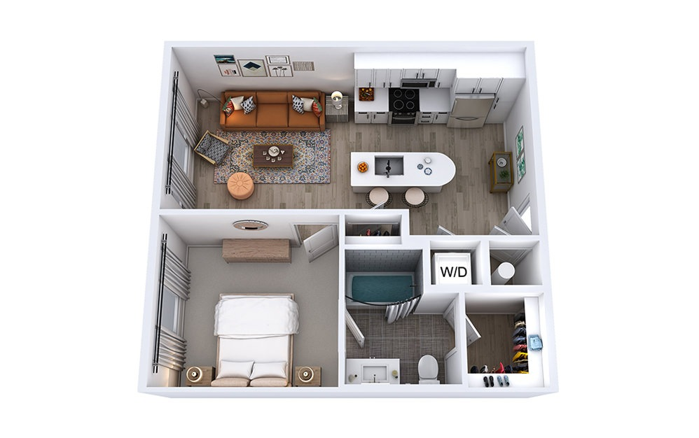 A1 - 1 bedroom floorplan layout with 1 bath and 632 to 662 square feet.