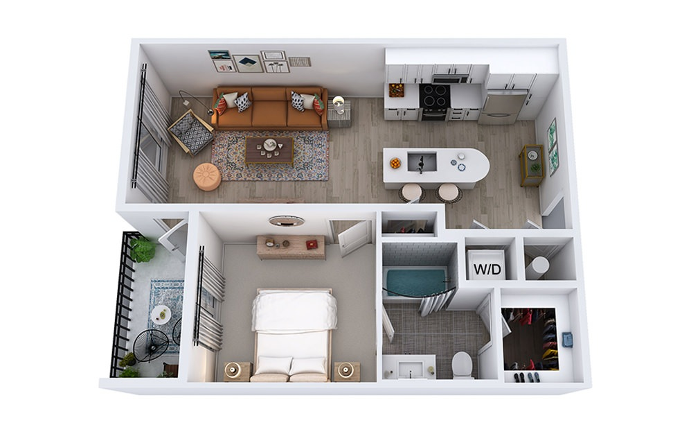 A2 - 1 bedroom floorplan layout with 1 bath and 702 to 737 square feet.