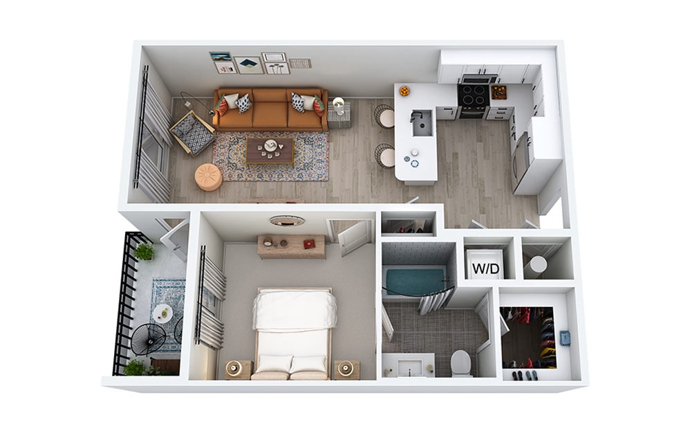 A3 - 1 bedroom floorplan layout with 1 bath and 702 to 737 square feet.