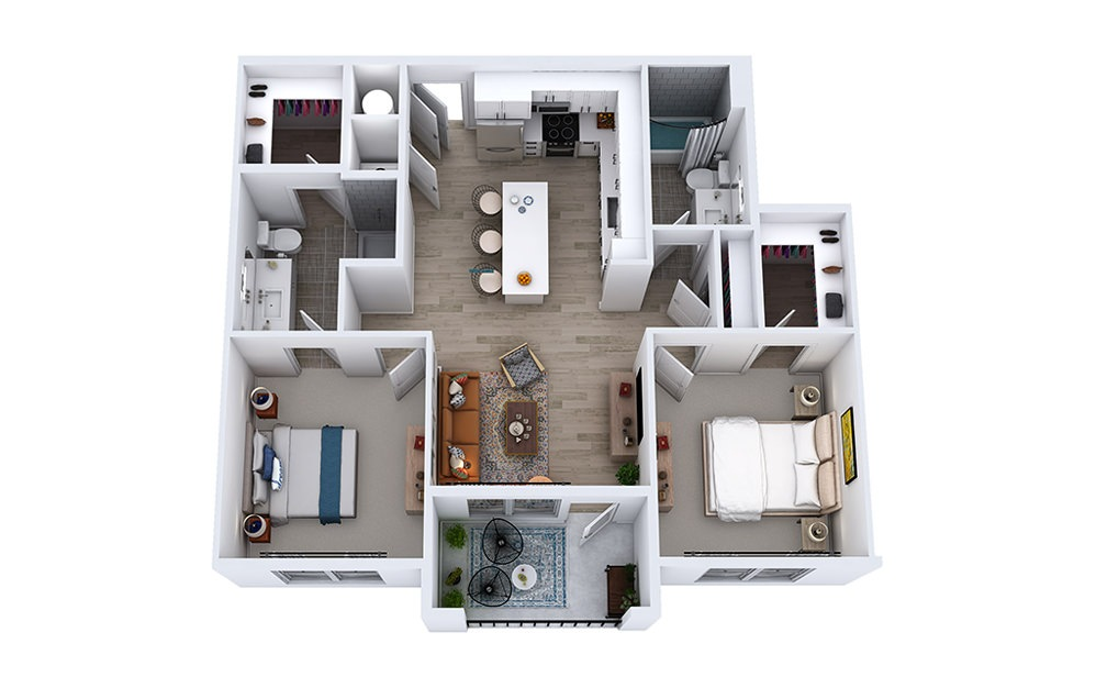 B1 - 2 bedroom floorplan layout with 2 baths and 1051 to 1069 square feet.