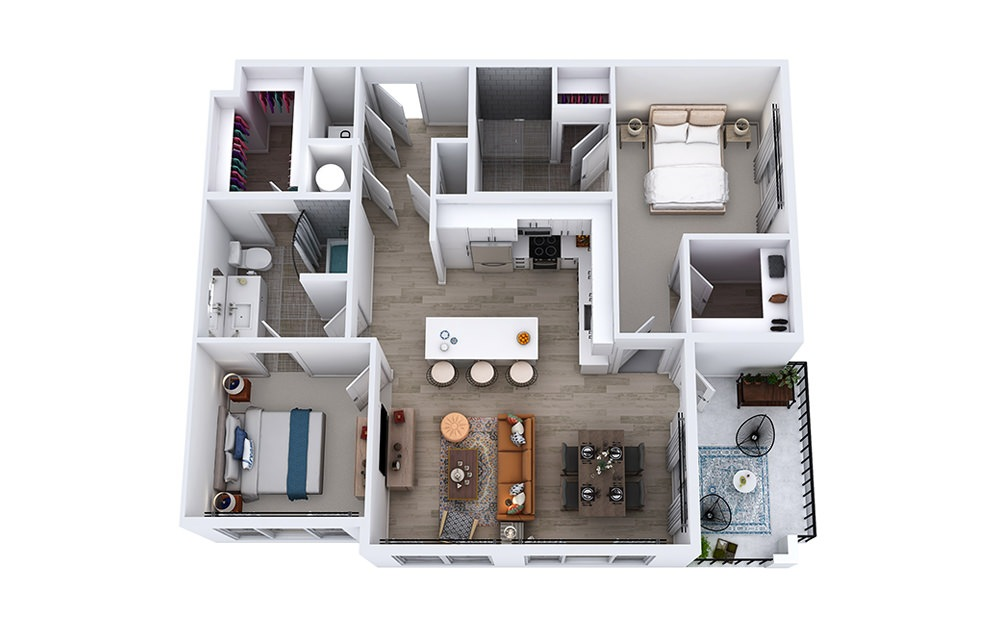 B2 - 2 bedroom floorplan layout with 2 baths and 1080 to 1179 square feet.