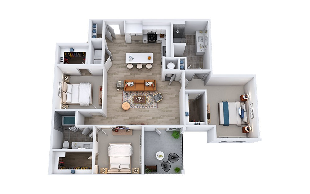 C1 - 3 bedroom floorplan layout with 2 baths and 1458 to 1488 square feet.