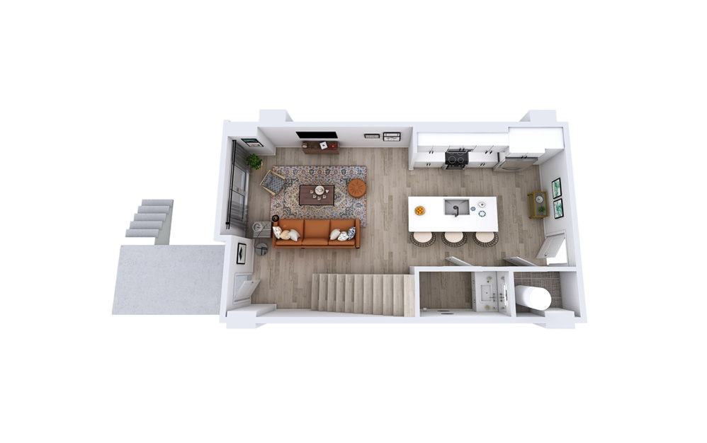 TA1 - 1 bedroom floorplan layout with 1.5 bath and 1225 to 1299 square feet. (Floor 1)