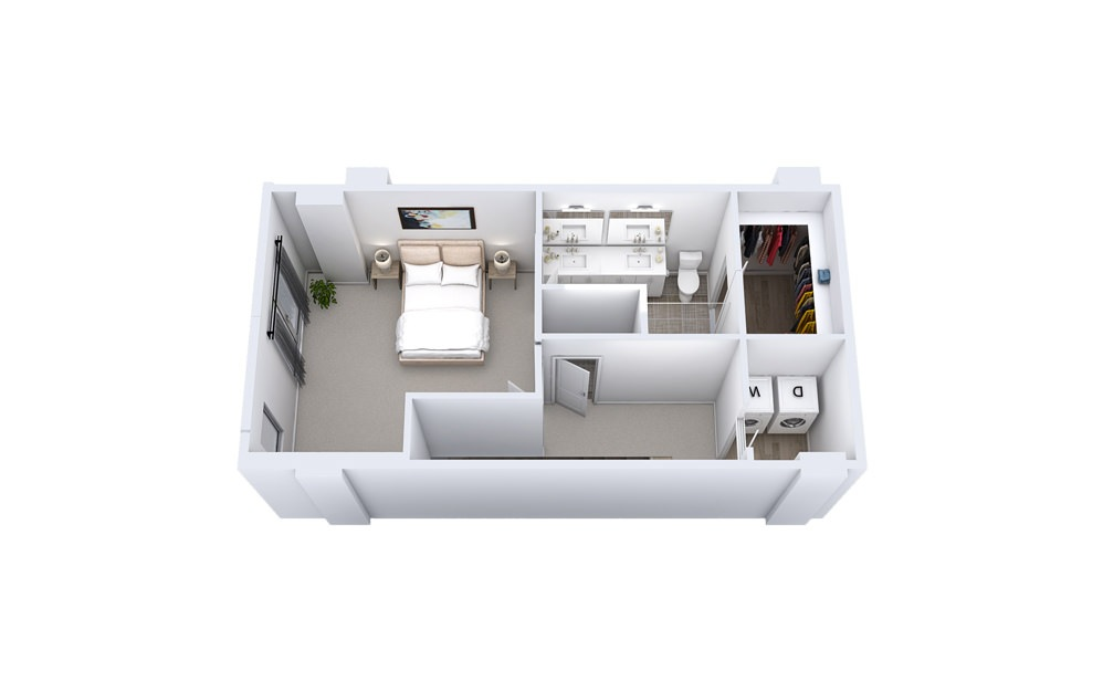 TA1 - 1 bedroom floorplan layout with 1.5 bath and 1225 to 1299 square feet. (Floor 2)