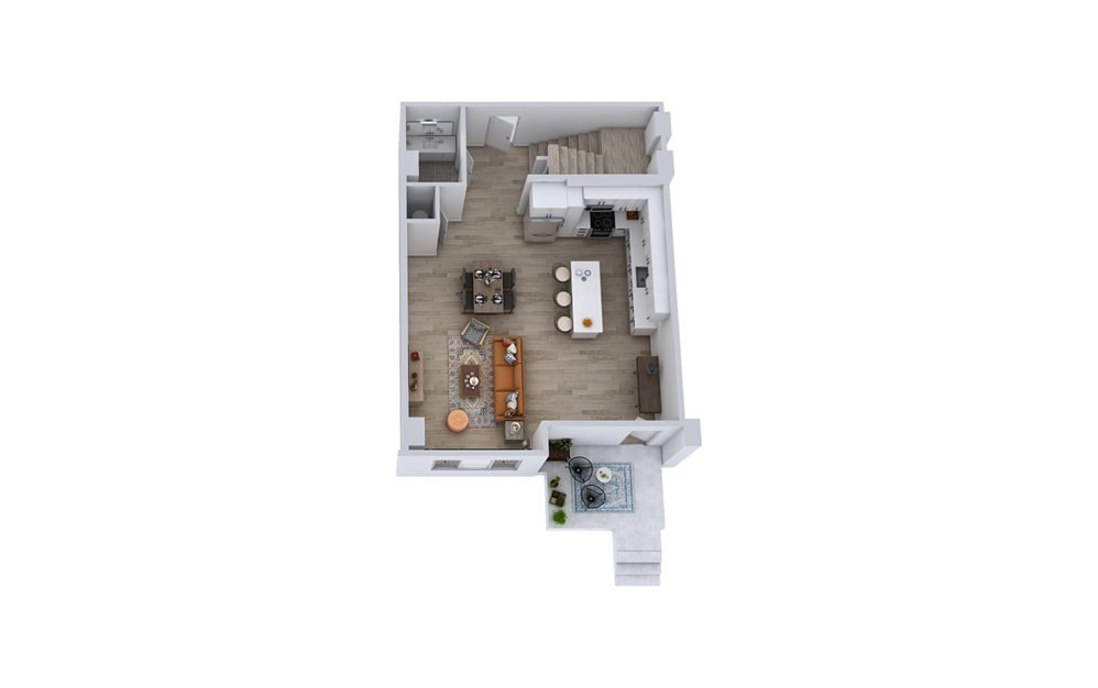 TB1 - 2 bedroom floorplan layout with 2.5 baths and 1622 square feet. (Floor 1)