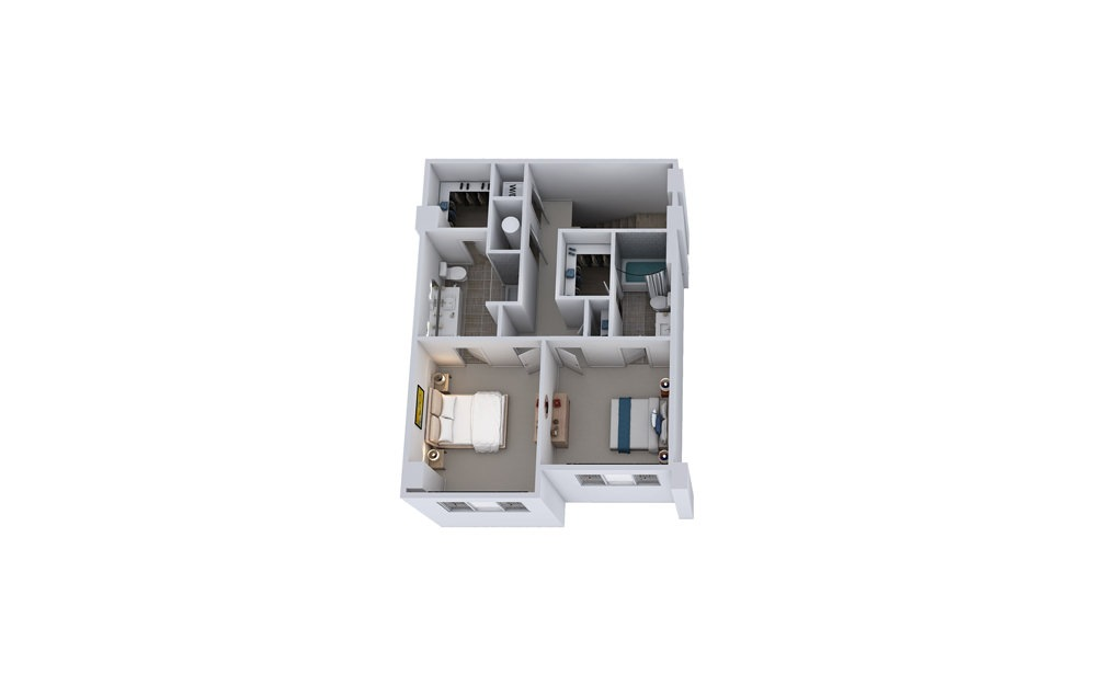 TB1 - 2 bedroom floorplan layout with 2.5 baths and 1622 square feet. (Floor 2)