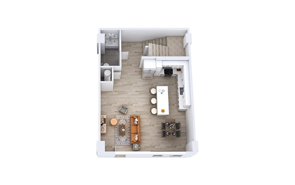 TB2 - 2 bedroom floorplan layout with 2.5 baths and 1699 to 1740 square feet. (Floor 1)