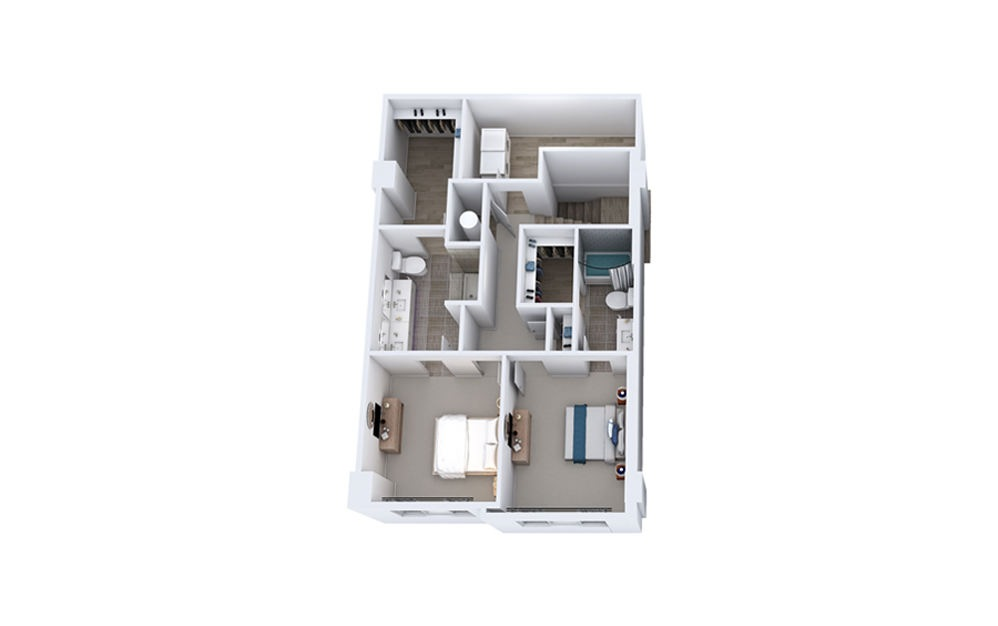TB2 - 2 bedroom floorplan layout with 2.5 baths and 1699 to 1740 square feet. (Floor 2)