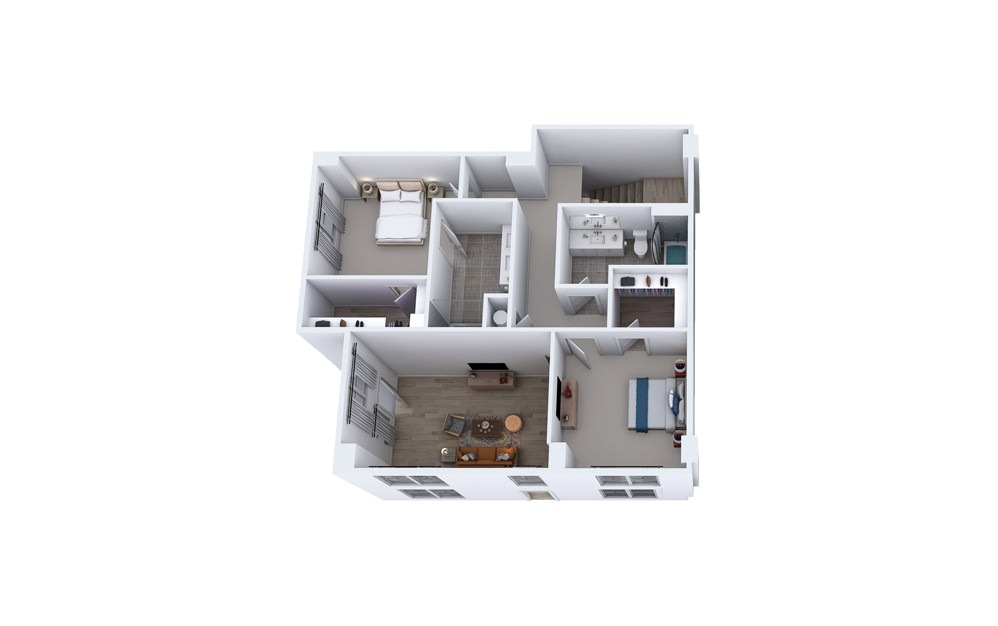 TC1 - 3 bedroom floorplan layout with 3 baths and 2355 square feet. (Floor 2)