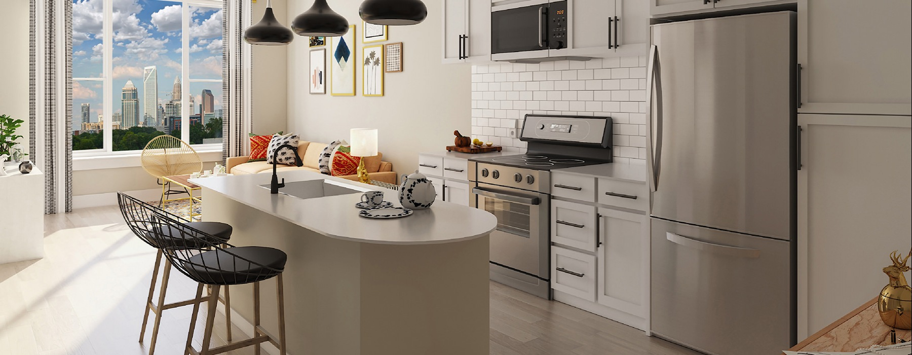 rendering of kitchen with large window and tile backsplash